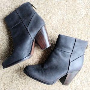 LOFT Dark Brown Faux Leather Bootie Block Heel 7M
